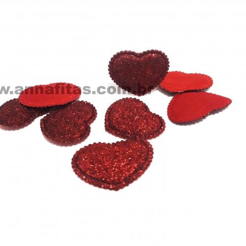 Aplique Coração Fofinho com Glitter 2,5X3cm (Vendido por unidade) Cor- Vermelho Ref: CGLIVE