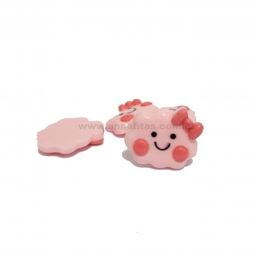 Aplique de Nuvens Plastico  Rosa BB com Pink 3X3mm