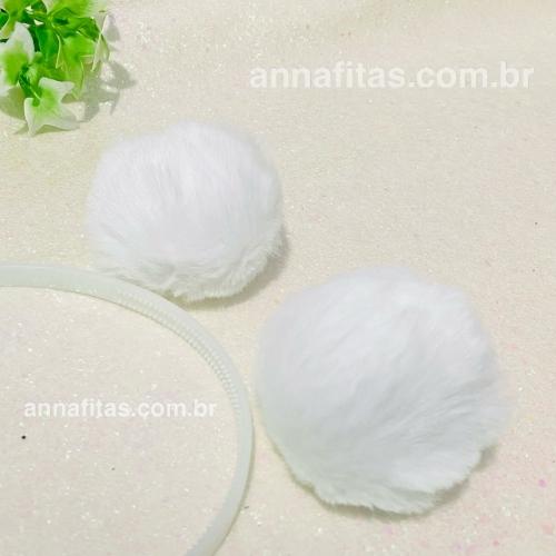 Pompom Pelúcia de 8cm 2 unidades Cor: Branco Ref: POMBR8