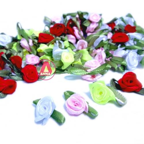 Aplique Flor de Rococó Rosas de Cetim com Folhas 1,5cm 50 unidade/ Branca,Verde Neon,Rosa e Vermelha Ref:2