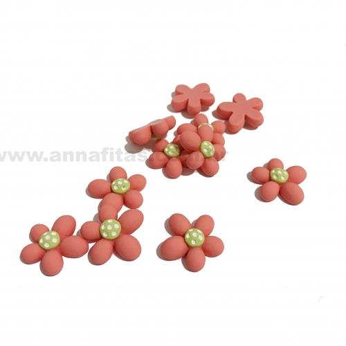 Aplique em Resina Flor Rosa e Verde 2,2cm Ref: TREZ13