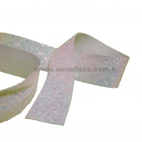 Lonita glitter Flocado de 38mm por 1metro Branca REF-38B