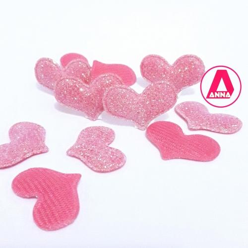 Coração com Glitter Rosa Altura 2cm Largura 3cm, 1 Unidade REF:28