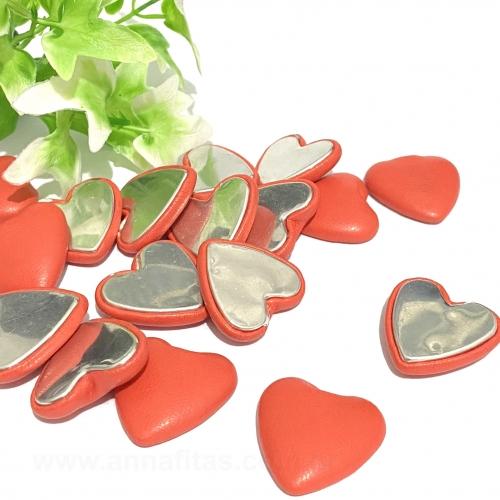 Aplique Coração de Couro com Metal 2,5cm Vermelho Por Unidade Ref: C26COUV