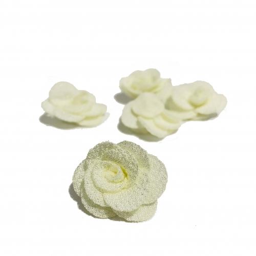 Flor de Tecido AMARELO BEBÊ com 5 unidades de 3cm  Ref- MFG16