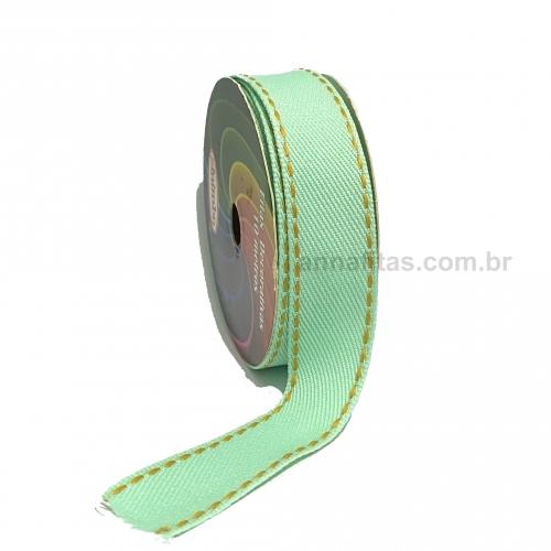 Fita Jeans Pespontada Sinimbu de 22mm Com 10 Metros Ref:1785-22 Cor- 06 Jeans VERDE CLARO