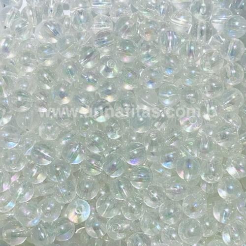 Bolas translúcida Irisadas de 8mm com  furo passante em plástico com 50g  Cor CRISTAL Ref - BTI8CRI