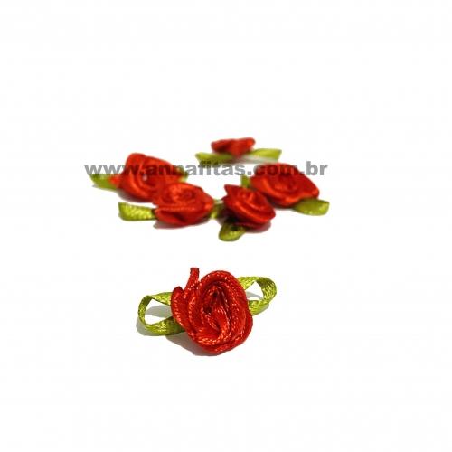 Aplique Flor de Rococó Rosas de Cetim com Folhas 1,5cm 50 unidade/ VERMELHA Ref:5