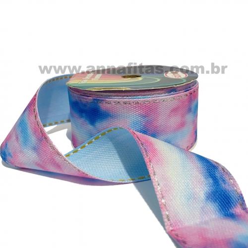 Fitas Jeans Pespontada Tie Dye de 38mm com 10 Metros ROSA COM AZUL 1823/38 COR 01
