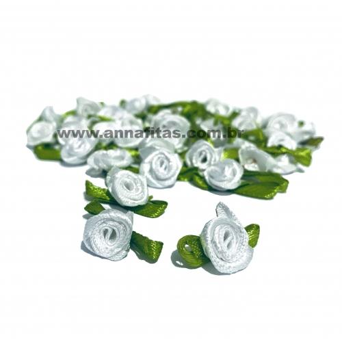 Aplique Flor de Rococó Rosas de Cetim com Folhas 1,5cm 50 unidade/ BRANCA Ref:7