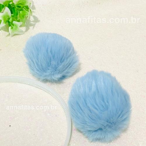 Pompom Pelúcia de 8cm 2 unidades Cor: Azul Bebê Ref: POMAB8