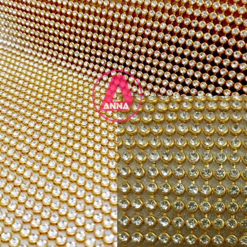 Manta de Strass Dourada 10 por 45 cm 1 Unidade Ref:204