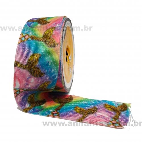 Fita Alpet de Gorgurão de 40mm com 10m Estampa Colorida CALDA DE SEREIA  Ref- 351900
