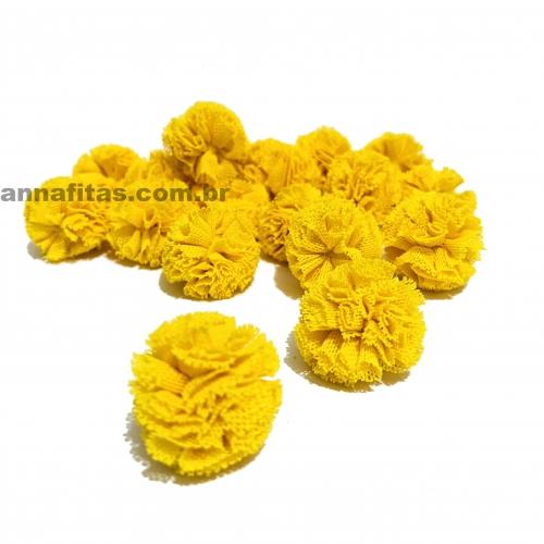 Pompom de Poliéster 2,5cm com 25 Unidades Amarelo  Ref: 5