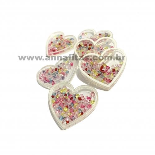Aplique Coração em Acrílico com BORDA BRANCA E BOLINHAS COLORIDAS 3,2x3,7cm  Ref:  TCAC2