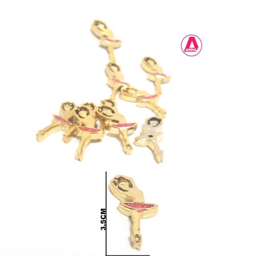 Bailarina de Plástico Dourada com Saia de Glitter Rosa a unidade
