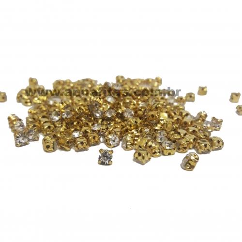 Strass de Costura de 4 garras, SS16 Dourado com Cristal , na faixa de 175 unidades pacote com 11gramas Ref 535