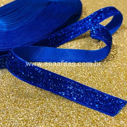 Fita  Lurex Esponjada de 10mm com 5 Metros Cor Azul Royal Ref: 01