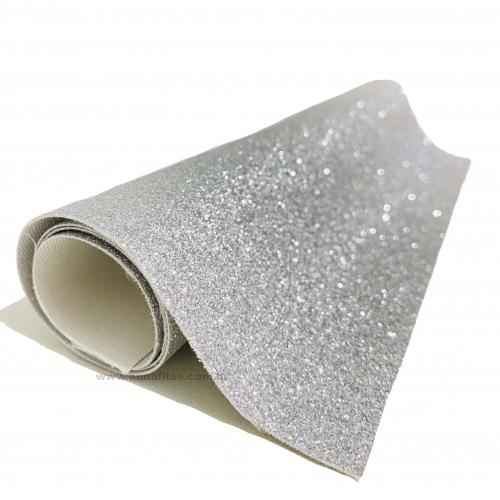 Lonita glitter Fino Prata 24 por 40 cm Ref 37