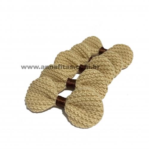 Laço de Crochê Melaço 3,0 x 5,5cm Pacotinho com 5 Unidades Cor - 09 Bege