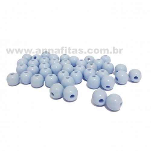 Bolas Leitosas Furo Passante de 8mm, pacote com 50 gramas, Cor- Azul Bebê Ref- 20