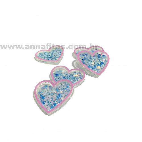 Aplique Coração em Acrílico com BORDA ROSA BEBÊ E ESTRELINHAS AZUL 3,2x3,7cm  Ref:  TCAC7
