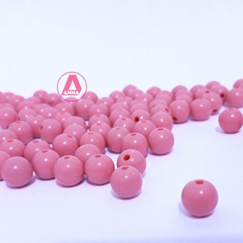 Bolas Leitosas Furo Passante Tam- 8mm Pacote com 50gramas Rosa Médio Cor -050