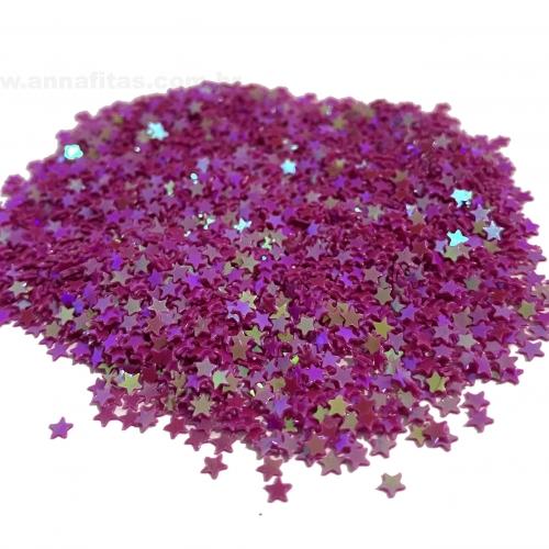 Apliques Confetes Paetê Estrela de 3mm com 15 gramas Cor ROSA PINK Ref - CONF1RP