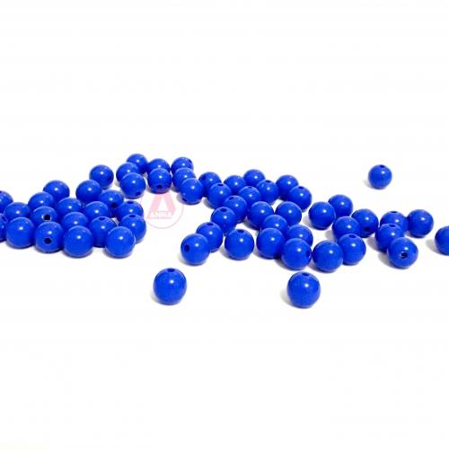 Bolas Leitosas Furo Passante de 8mm,  pacote com 50 gramas, Cor: Azul Royal Ref: LR032