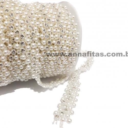 Cordão Meia Perola branco com Strass  de 3mm com 1 metro Ref- 2749