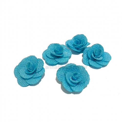 Flor de Tecido AZUL CELESTE 5 unidades de 3cm Ref- MFG63