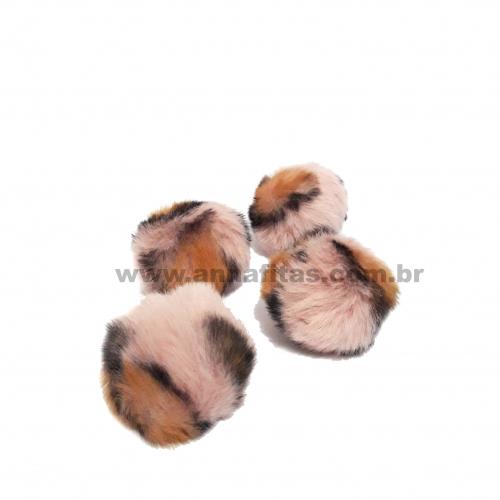 Pompom Felpudo de 4cm Pacote com 4 unidades Cor: Animal Print Marron Claro com Preto Ref-7