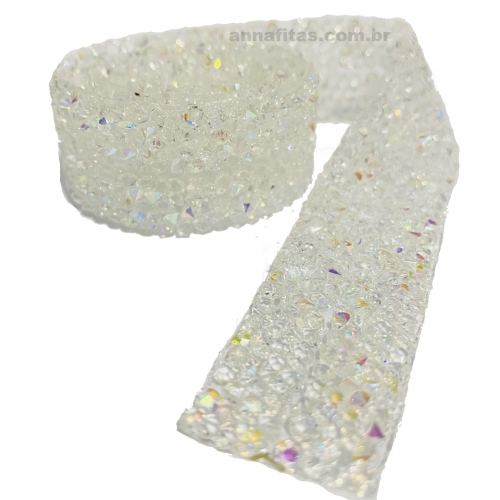 Tira de Micro Manta Cascalho 2 Tiras de 1cm Por 40cm Cor Branca  Ref - MCB1