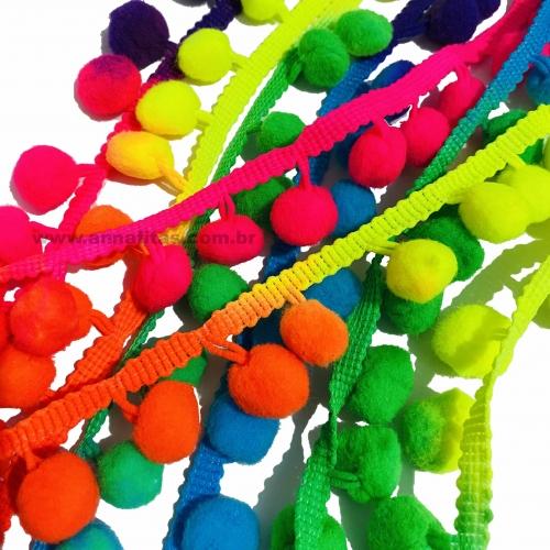 Pompom Bolinha de 15mm em Cordão (Por Metros) cores Colorido Neon