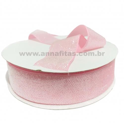 Fita Sintetica Veludo com Glitter de 38mm POR 1 METRO (Lurex Esponjada) Cor Rosa Bebê Ref: 217