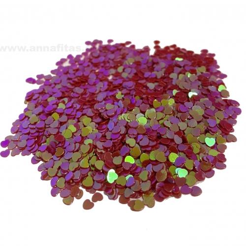 Apliques Confetes Paetê coração de 3mm com 15 gramas Cor VERMELHO Ref - CONF1VM