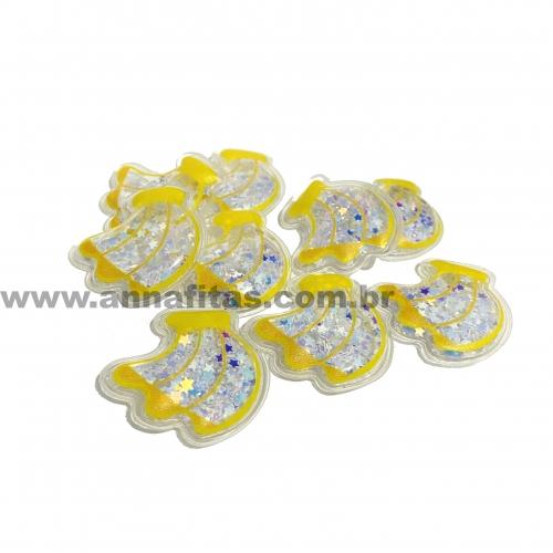 Aplique em Plástico transparente BANANA LANTEJOULAS BRANCA 3,5x3 cm (Vendido por Unidade)Ref: TPB02