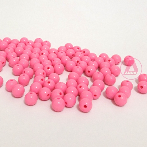 Bolas Leitosas Furo Passante de 8mm,  pacote com 50 gramas, Cor: Rosa Ref: 003