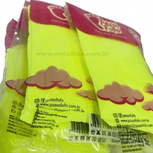 Pacote com 5 Unidade Meia de Seda Passo Fofo Amarelo Neon Cor-45