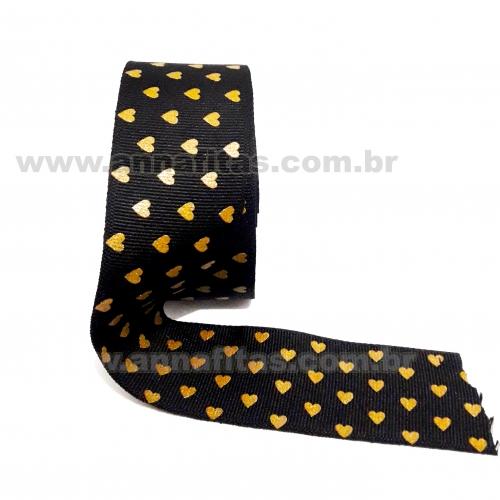 Fita Alpet de Gorgurão de 40mm com 10m Estampa Silk Preta Corações Dourados  Ref- 367809
