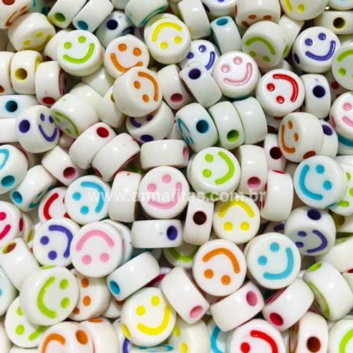 Redondo Entremeio Smile Branco com carinha cores mista 10mm Pacote de 50 gramas Ref: SMIL42