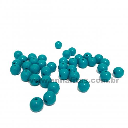 Bolas Leitosas Furo Passante de 8mm, pacote com 50 gramas, Cor- Verde Turquesa Ref- 053