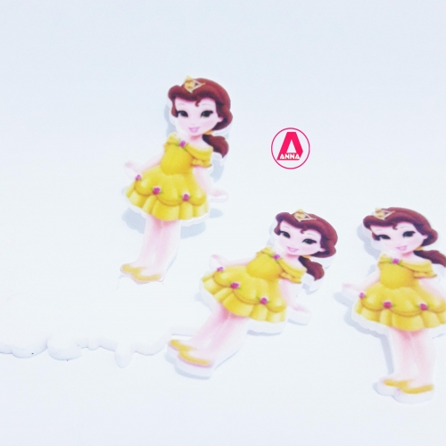 Aplique Princesa Bela em ACRÍLICO tamanho 4,5cm, venda por unidades