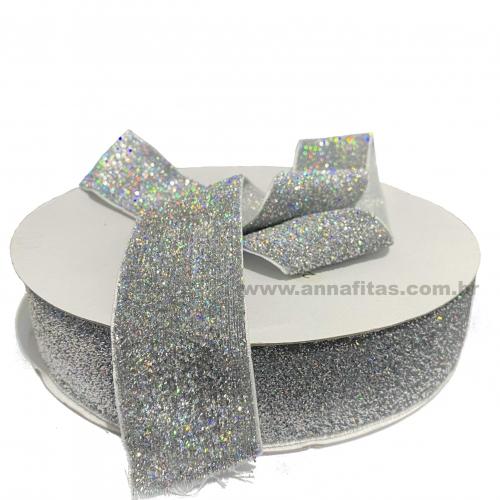 Fita Sintetica Veludo com Glitter de 38mm POR 1 METRO (Lurex Esponjada) Cor PRATA FURTA COR Ref: 30