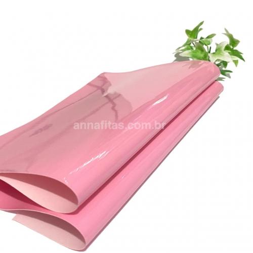 Lonita couro ecológico Verniz cor ROSA BEBÊ 24 por 40 cm Cor: 56