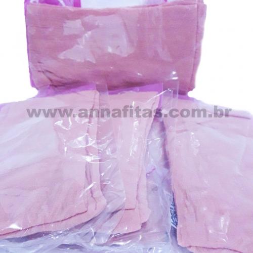Pacote com 5 Unidade Meia de Seda Passo Fofo Rose Claro  Cor-30