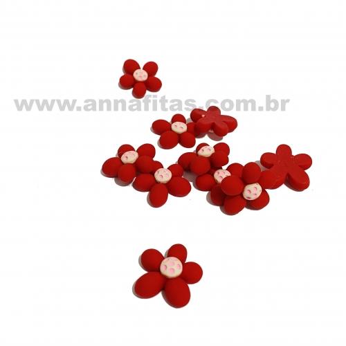 Aplique em Resina Flor Vermelho e Rosa Bebê 2,2cm Ref: TREZ14