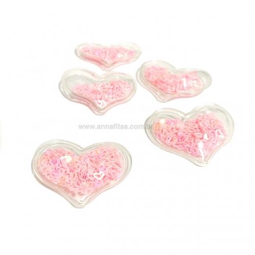 Aplique em Plástico transparente CORAÇÃO LANTEJOULAS ROSA PRINCESA Altura de 3 x 3,9cm (Vendido por Unidade)Ref: TCO02