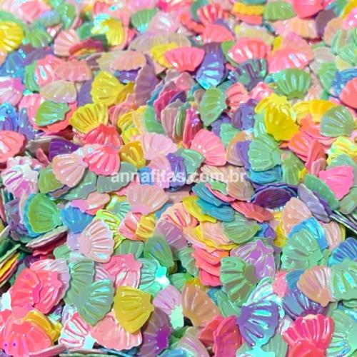Aplique confete em conchas para laços piscina e outros 6x8mm 15g CORES CANDY Ref - A0901