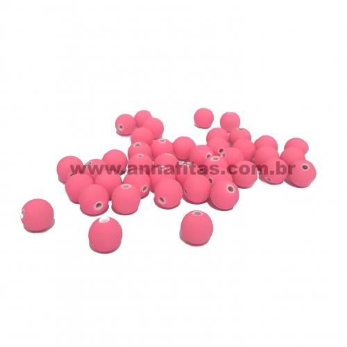 Bola Fosca Plástica emborrachadas com furo Passante Tam-8mm com 50 gramas Rosa Neon COR - 023